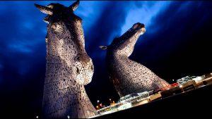 led handrails at the kelpies